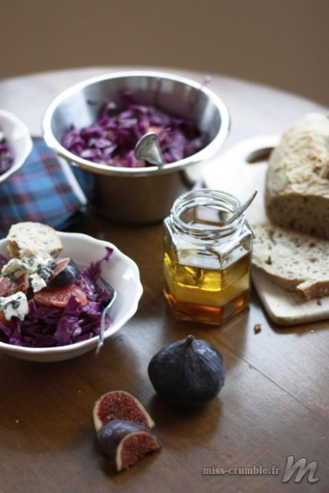 Salade de chou rouge et fromage bleu